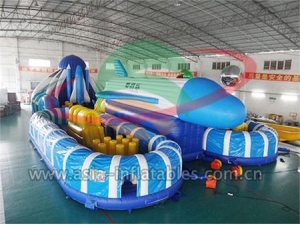 Inflatable Fun City, Outdoor Adult Inflatable Air Plane Playground Obstacle Course For Sale