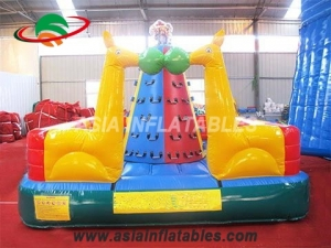 Lovely Animal Theme Outdoor Rock Inflatable Climbing Wall For Kids & Interactive Sports Games